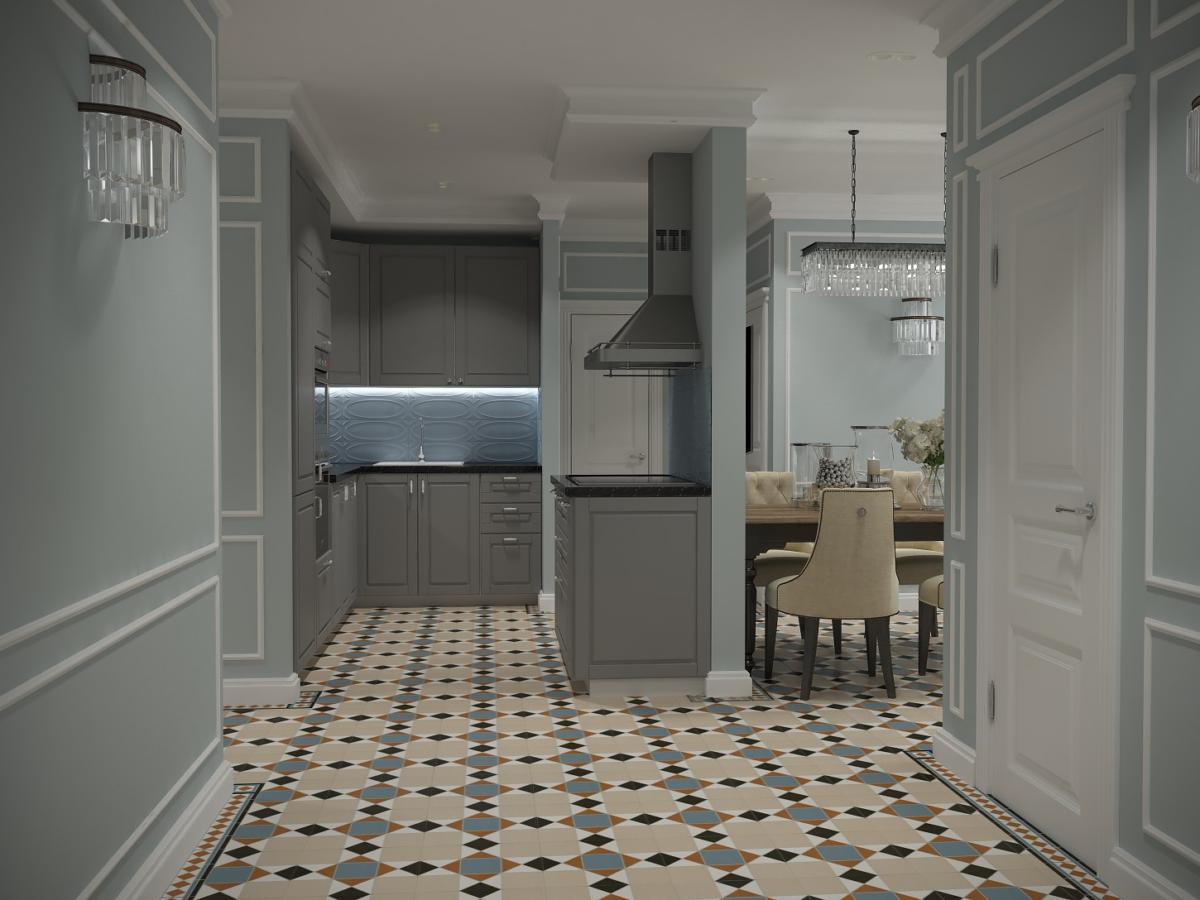 Кухня/столовая в  цветах:   Бежевый, Бирюзовый, Голубой, Темно-зеленый.  Кухня/столовая в  стиле:   Неоклассика.