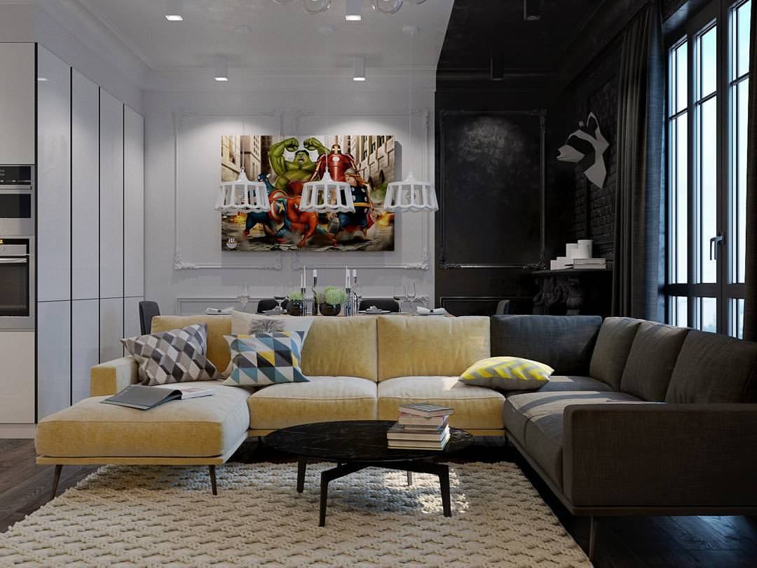 Современная чёрно-белая квартира для молодой семьи, которую очень интересно рассматривать