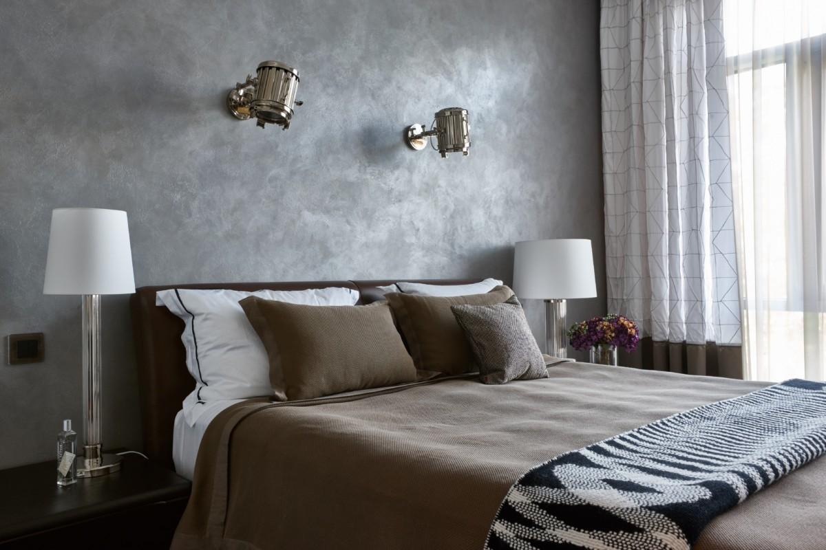 Спальня в  цветах:   Светло-серый, Серый, Темно-коричневый.  Спальня в  стиле:   Минимализм.