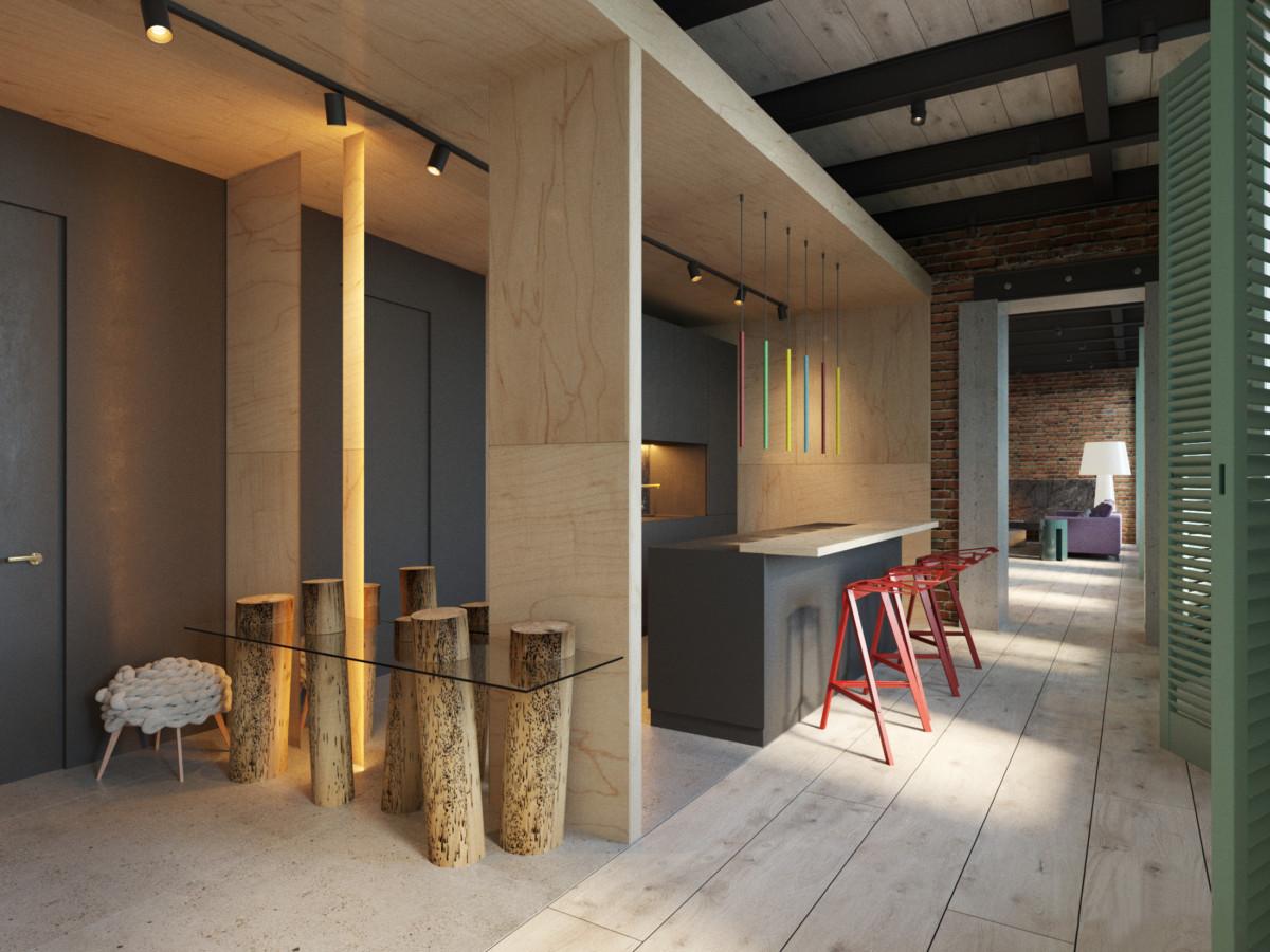 Кухня/столовая в  цветах:   Бежевый, Зеленый, Светло-серый, Темно-коричневый.  Кухня/столовая в  стиле:   Лофт.