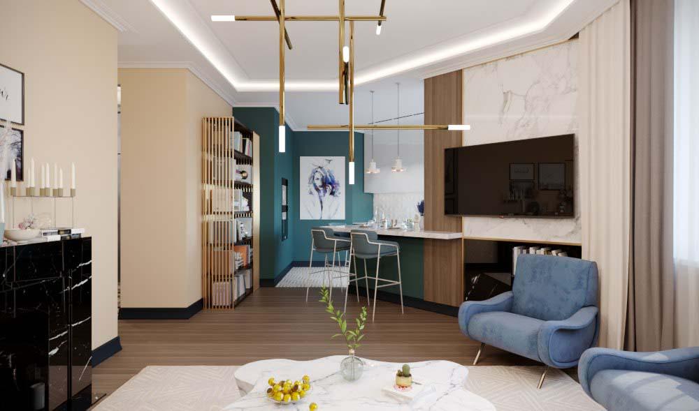 Гостиная в  цветах:   Бежевый, Коричневый, Светло-серый, Фиолетовый.  Гостиная в  стиле:   Минимализм.