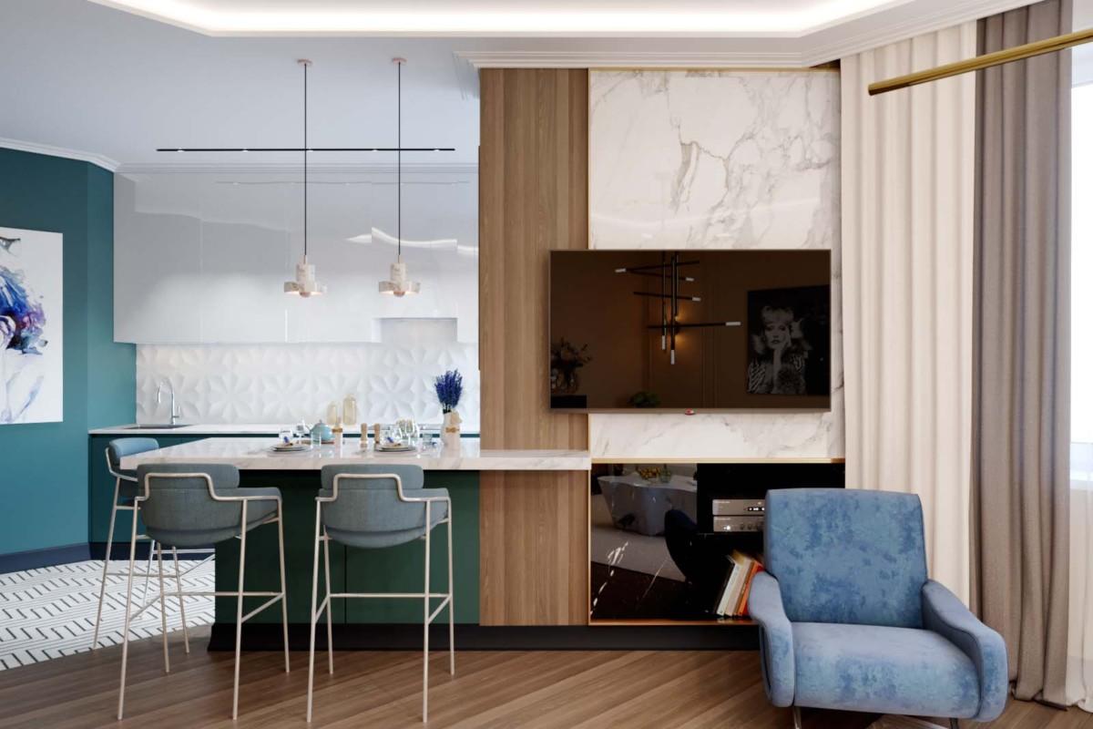 Интерьер двухкомнатной квартиры с мебелью Eichholtz