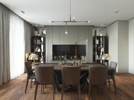 Кухня/столовая в  цветах:   Бежевый, Коричневый, Темно-коричневый.  Кухня/столовая в  стиле:   Минимализм.
