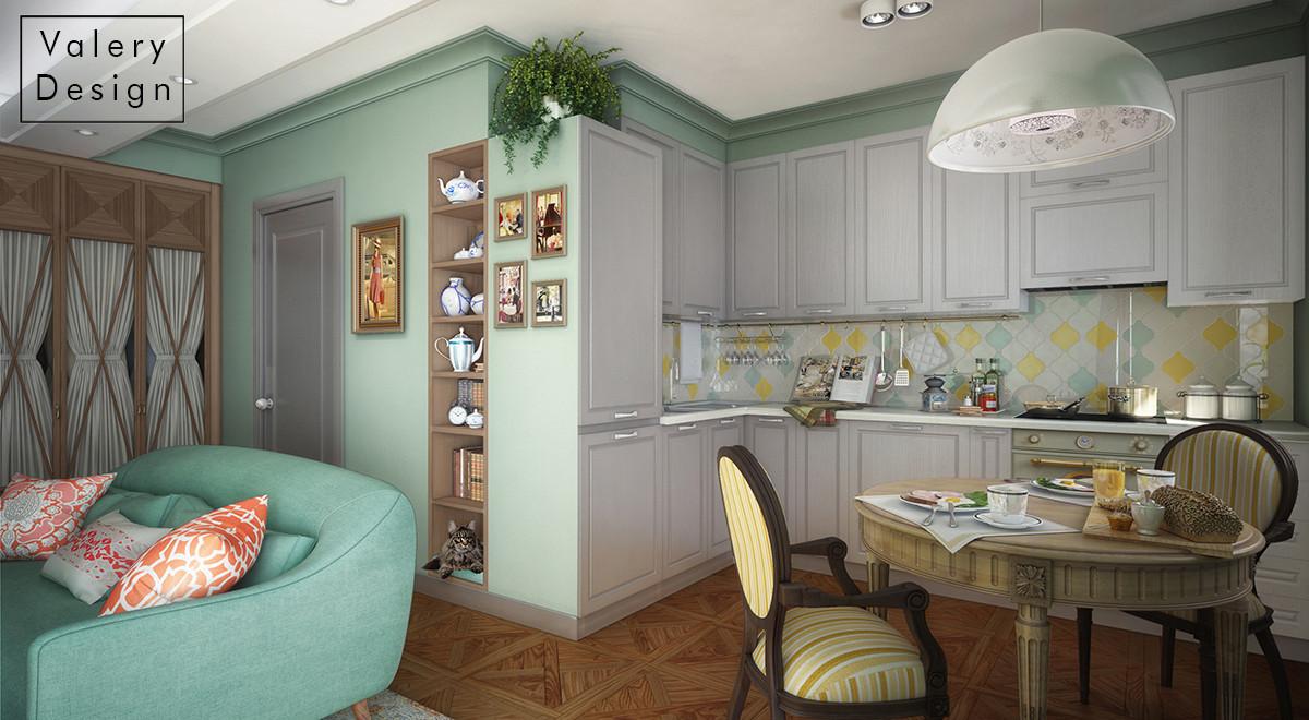 Кухня служит больше столовой — хозяйка мало готовит, но любит собирать гостей. Для этого мы поставили стол-трансформер.