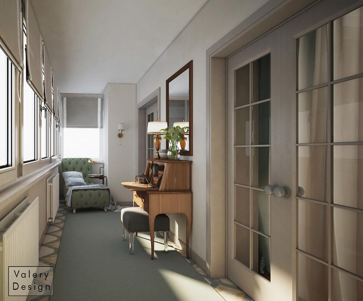 Балкон стал буфером между спальней и залом. Благодаря такому зонированию нам удалось сделать большую гардеробную в спальне.