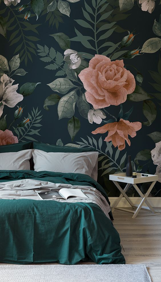 Спальня в  цветах:   Бирюзовый, Коричневый, Светло-серый, Синий.  Спальня в  стиле:   Скандинавский.