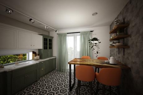 Кухня/столовая в  цветах:   Бежевый, Зеленый, Серый, Темно-коричневый.  Кухня/столовая в  стиле:   Минимализм.