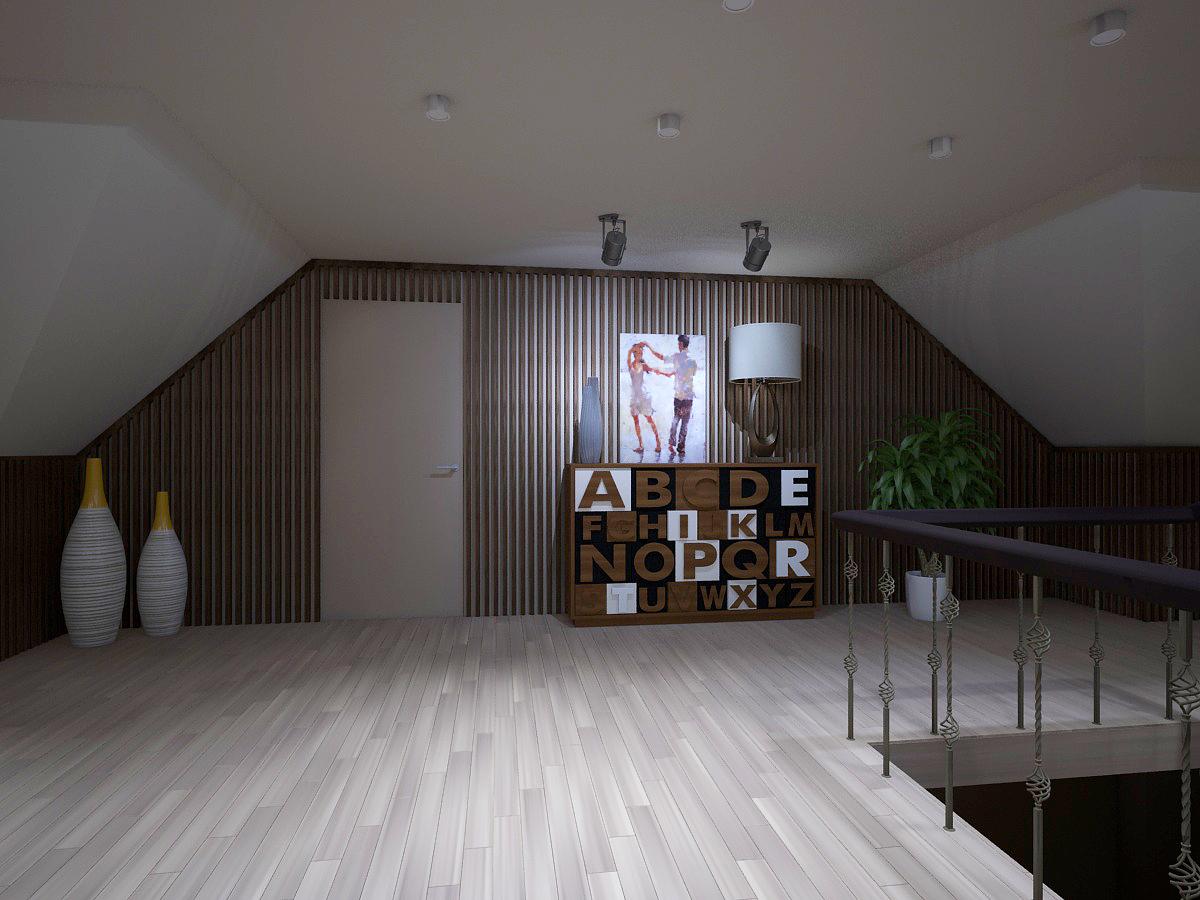 Зона напротив входа у лестницы выделена мини-прожекторами и дизайнерской  тумбой.