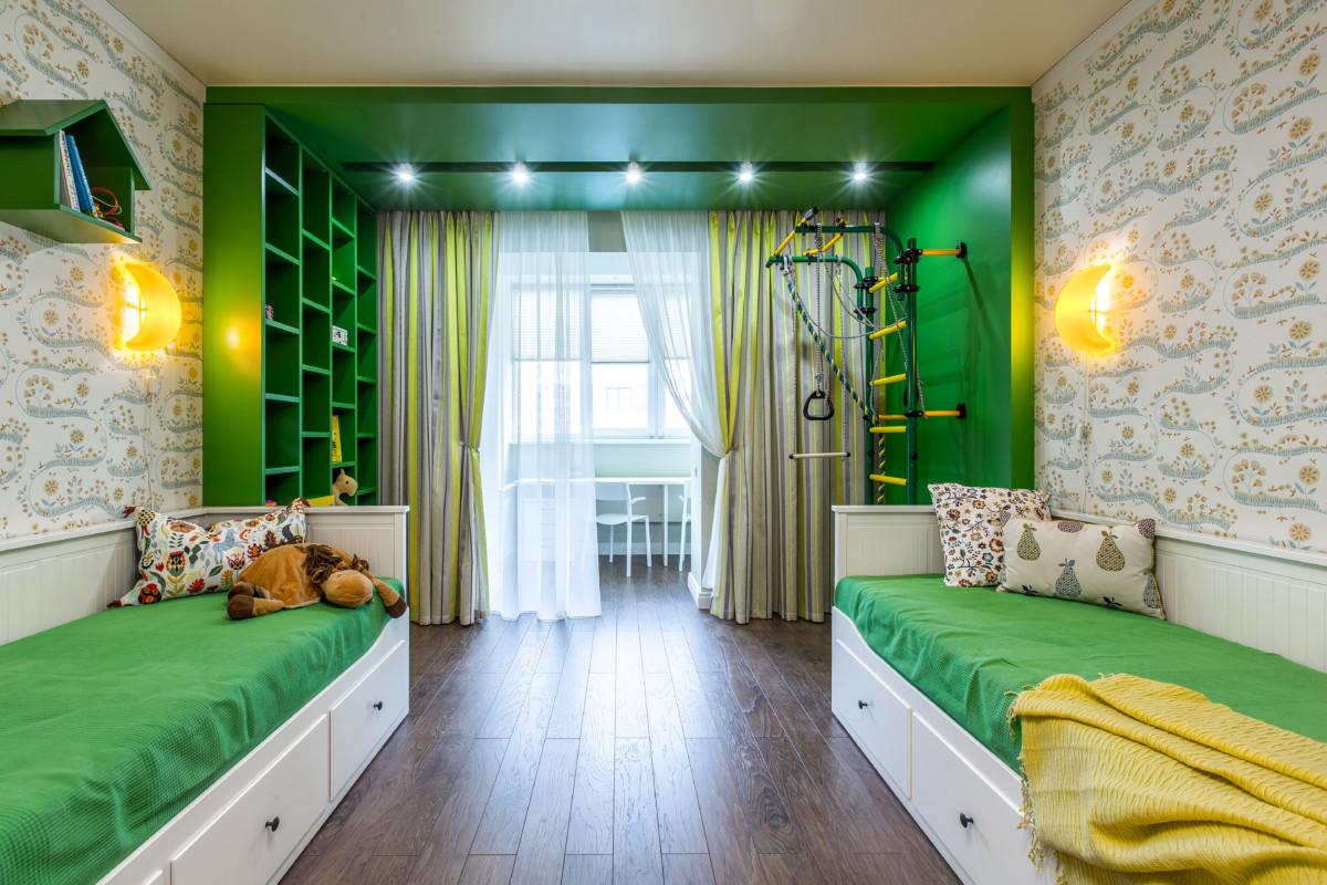 Детская в  цветах:   Зеленый, Коричневый, Лимонный, Темно-зеленый.  Детская в  стиле:   Минимализм.
