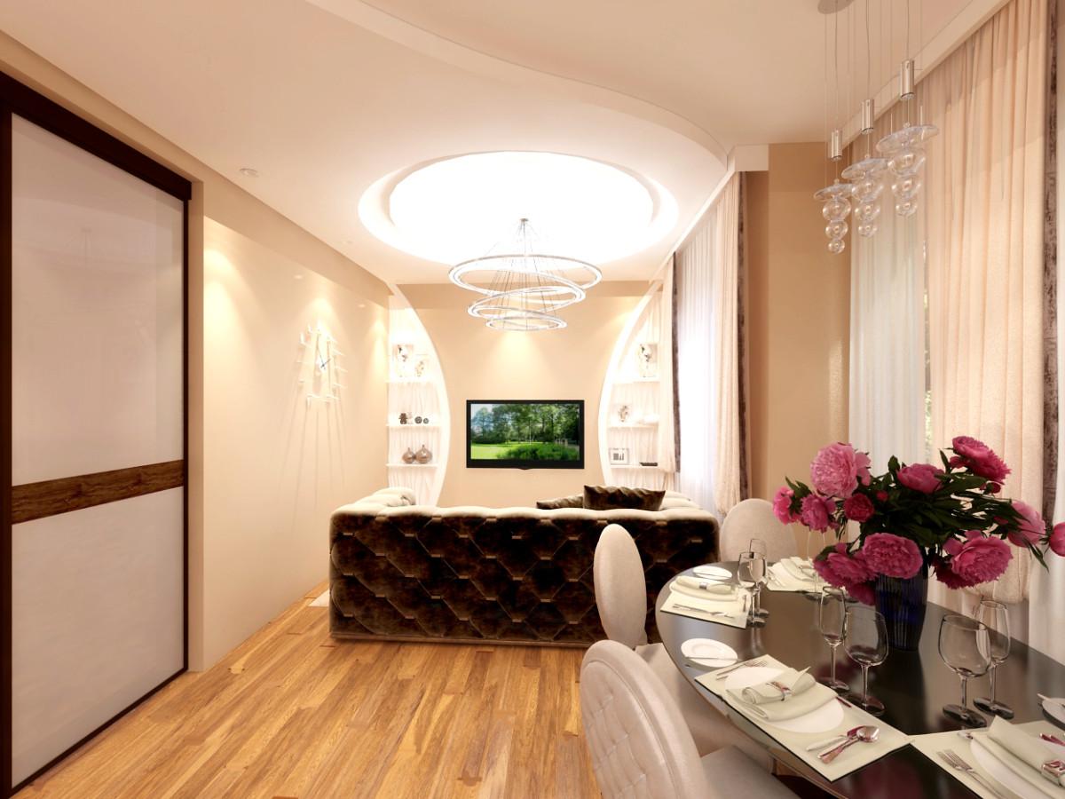 На первом этаже расположилась уютная гостиная и кухня, площадь 50 кв. м. Форма помещения прямоугольная.