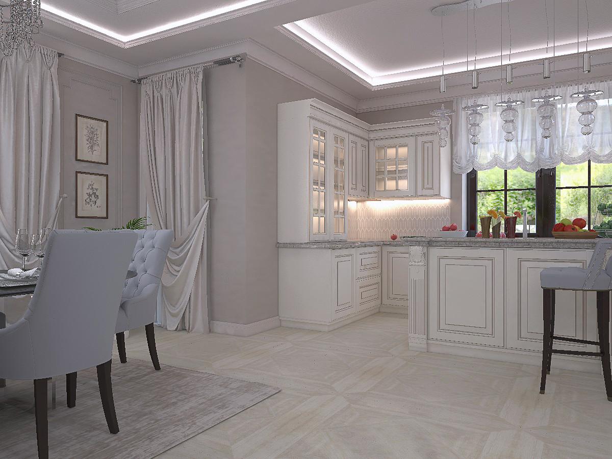 Потолок из гипсокартона с декоративными элементами из гипса и закарнизной подсветкой.