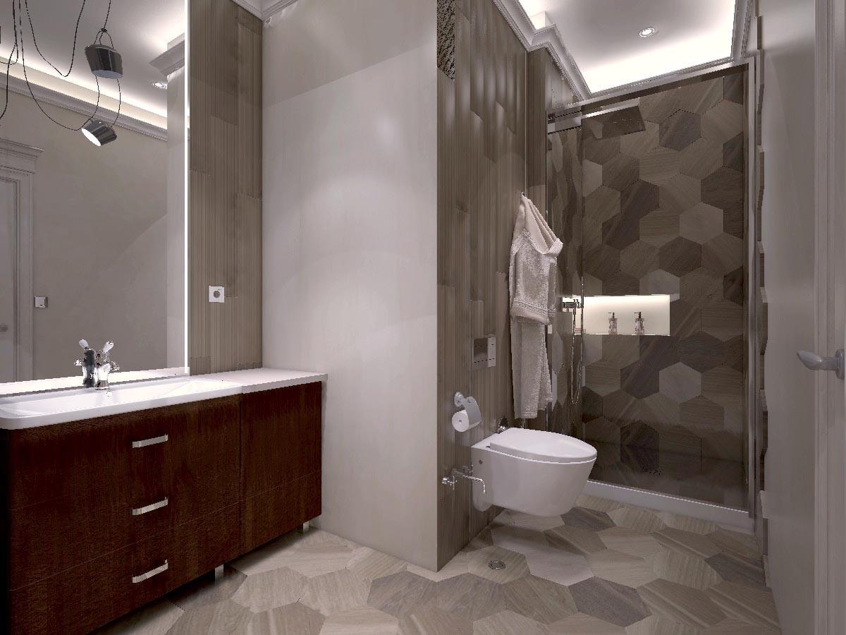 Гостевой туалет выделяется из общей стилистики дома. Здесь применили плитку разных форматов и текстур.