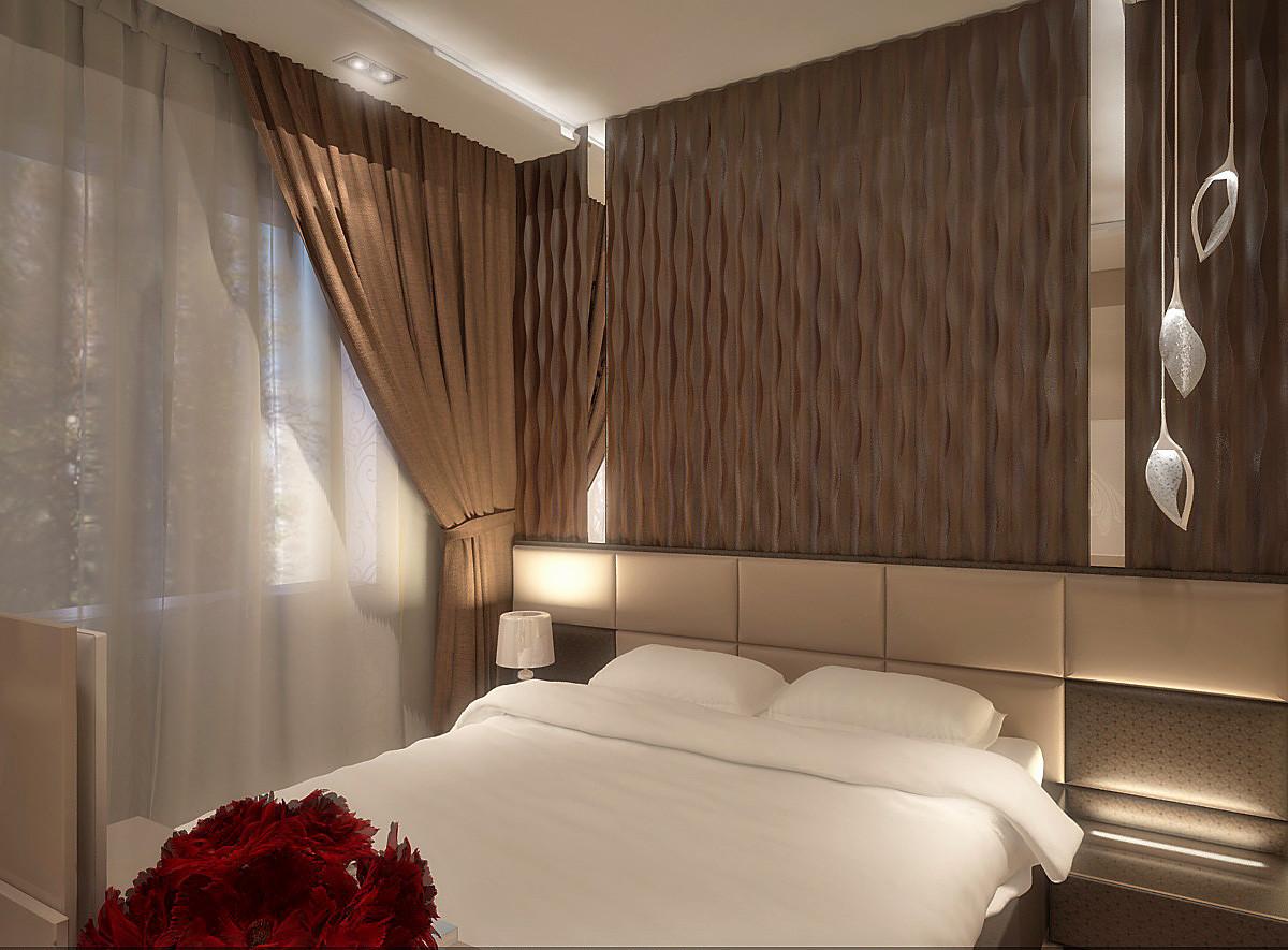 Спальная комната расположилась на втором этаже дома. Площадь — 17 кв. м. В отделке использованы натуральные материалы.
