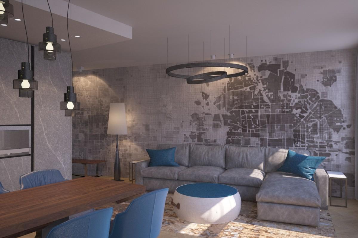 Мягкая зона гостиной. В качестве базового цвета интерьера — серая гамма, цветовые пятна текстиля смягчают и ставят акценты.