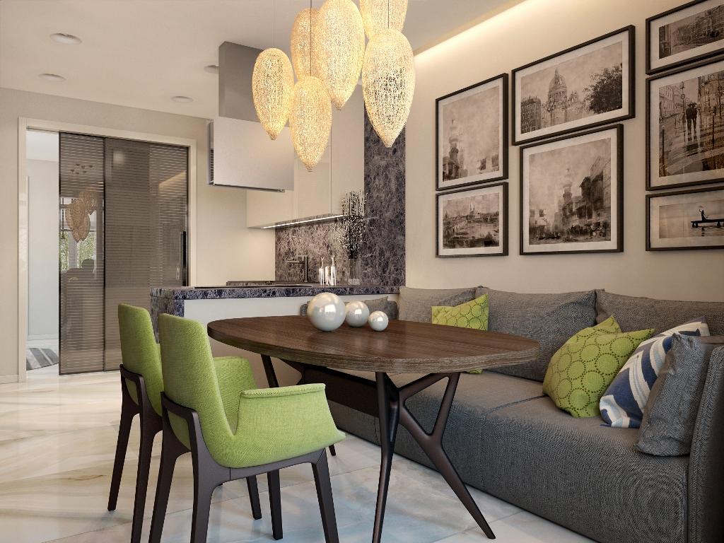 Кухня/столовая в  цветах:   Бежевый, Лимонный, Темно-коричневый.  Кухня/столовая в  стиле:   Минимализм.