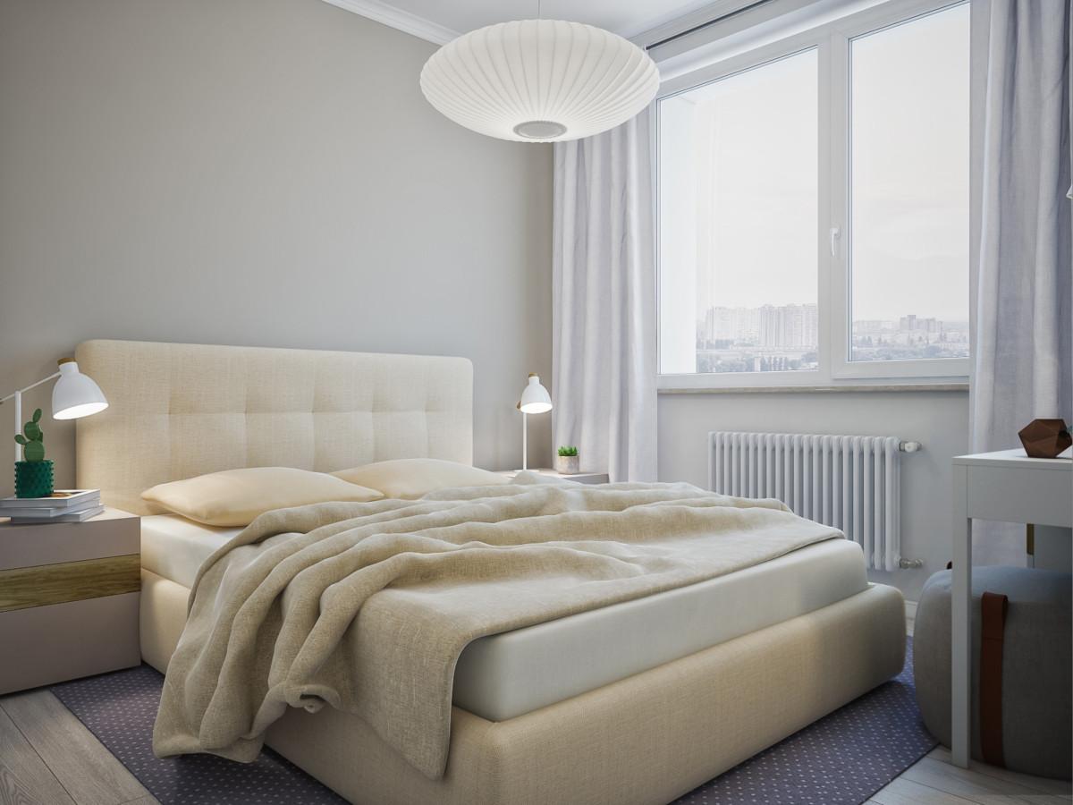 Спальня в  цветах:   Бежевый, Коричневый, Серый, Темно-коричневый.  Спальня в  стиле:   Скандинавский.