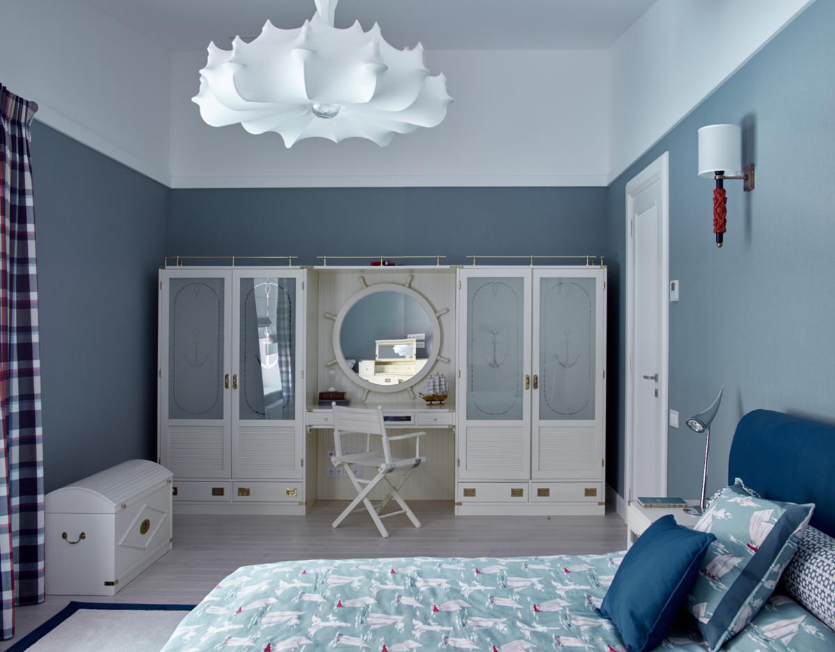 Спальня в  цветах:   Бежевый, Бирюзовый, Светло-серый, Синий, Сиреневый.  Спальня в  стиле:   Неоклассика.
