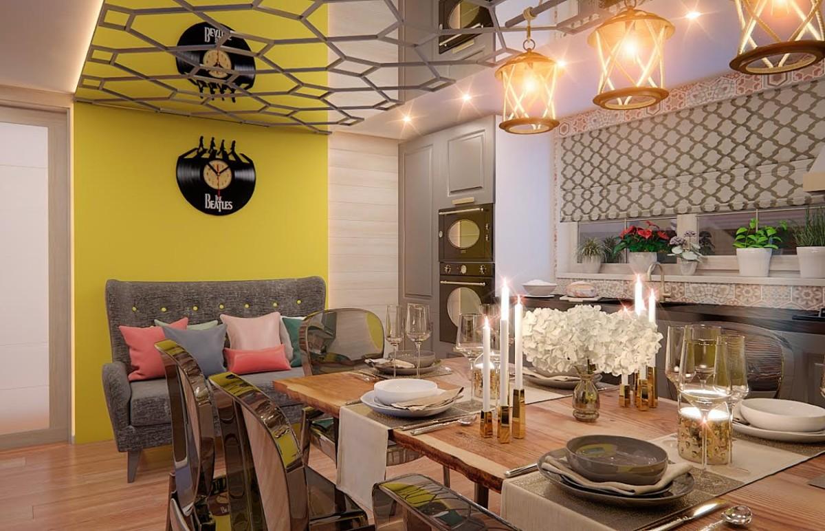 Первых вариант сочный, свежий, лимонно-яблочный с зеркалом на потолке и подсветкой по краям.