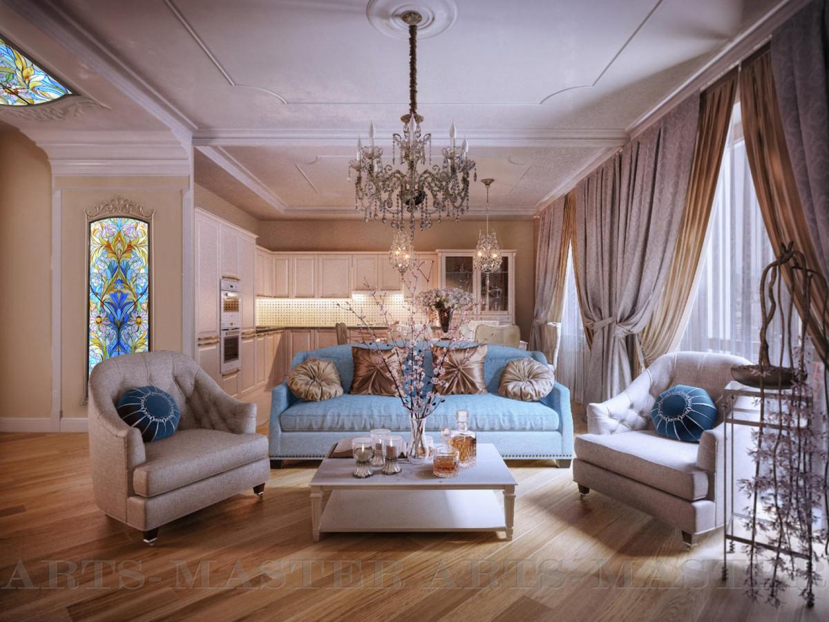 Портал из настенных и потолочных витражей обрамляет парадный вход в гостиную зону квартиры. Красочные витражи эффектно оживляют спокойный светлый интерьер.