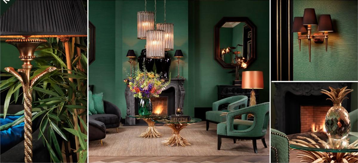Гостиная в  цветах:   Бирюзовый, Зеленый, Коричневый, Оранжевый, Темно-зеленый.  Гостиная в  стиле:   Арт-деко.