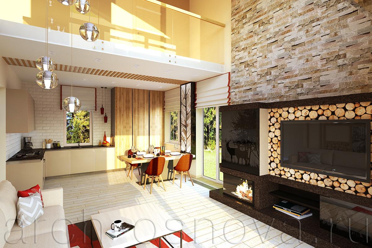 Двусветная гостиная объединена с кухонной и столовой зонами в единое комфортное пространство. Напротив диванной зоны расположен авторский каминный портал с удобной системой хранения.