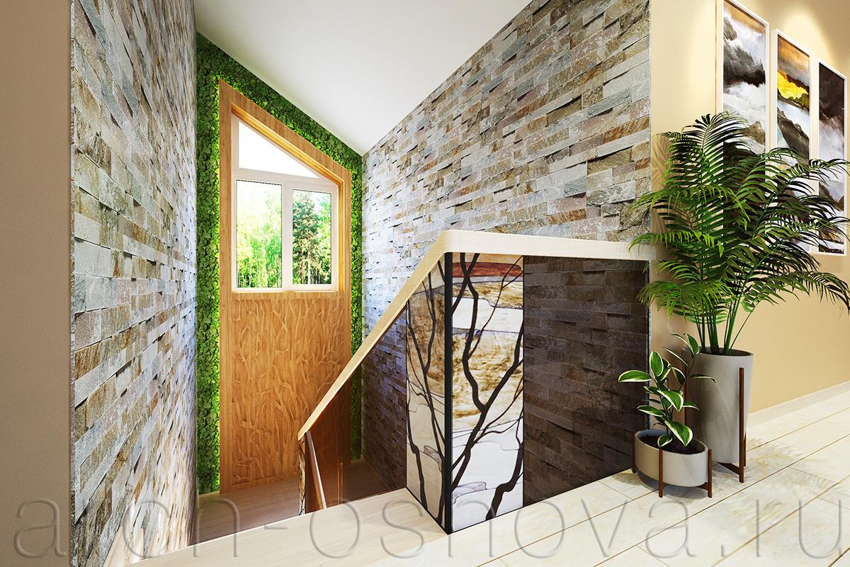 Холл дома выдержан в мягкой цветовой гамме бежево-кофейных оттенков с акцентными элементами растений зеленых тонов. Ограждение лестницы выполнено из тонированного стекла с витражными вставками.