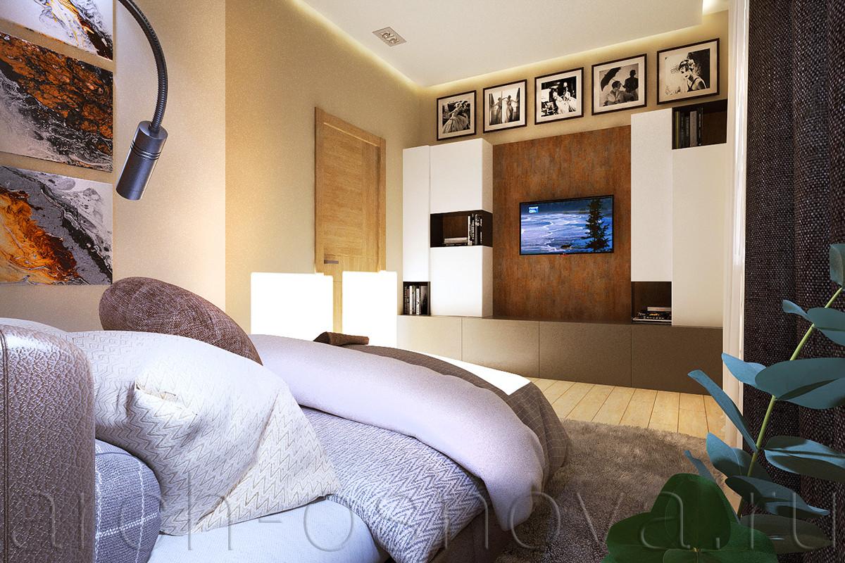 Стильная система хранения включает в себя открытые полки и закрытые фасадами мебельные модули. Охристый оттенок деревянной панели в центральной части поддерживает цветовую гамму деревянного панно на противоположной стене.