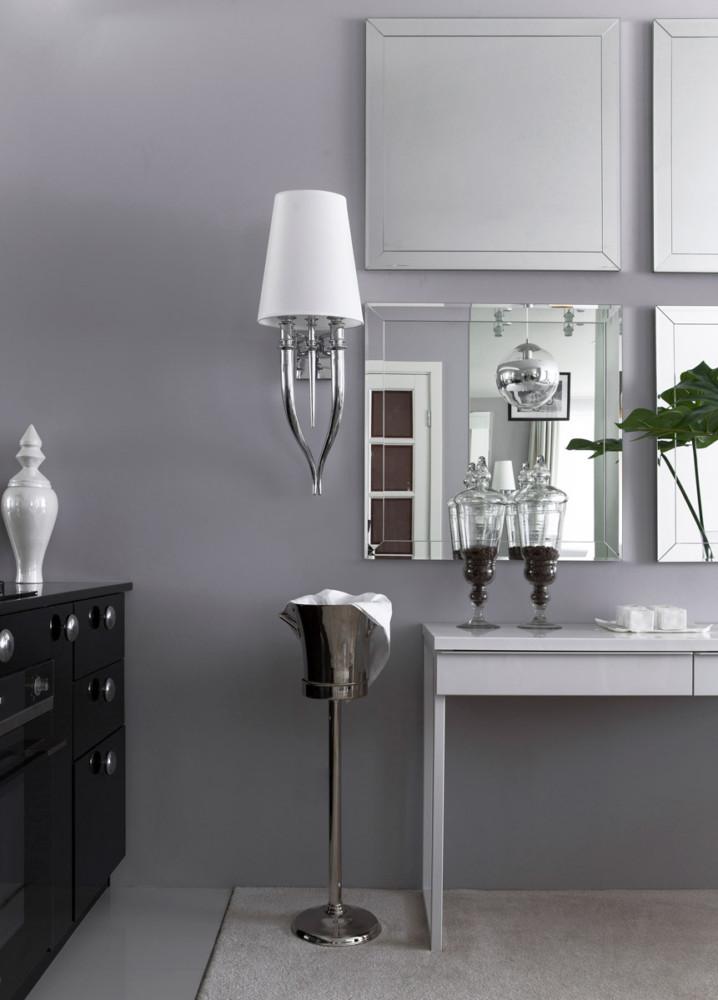 Спальня в  цветах:   Светло-серый, Серый, Фиолетовый.  Спальня в  стиле:   Неоклассика.