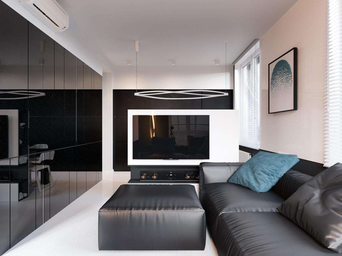 Чёрно-белый минимализм в московской квартире