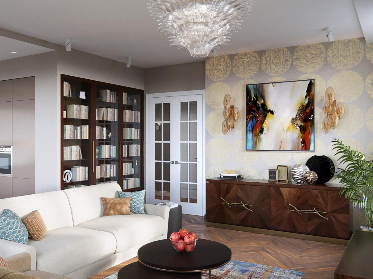 Квартира сохраняет ощущение парадности за счёт отделки и подбора мебели, но при этом расслабляет хозяев своей упорядоченностью и логикой дизайнерских решений.