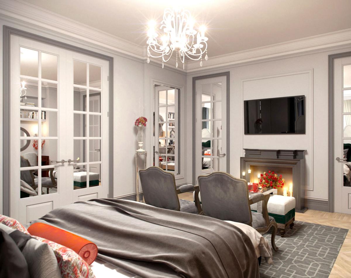 Симметричная спальня с импровизированным камином, кровать здесь нетрадиционно расположена по центру помещения, и остальные предметы мебели и декора подчинены этому решению.