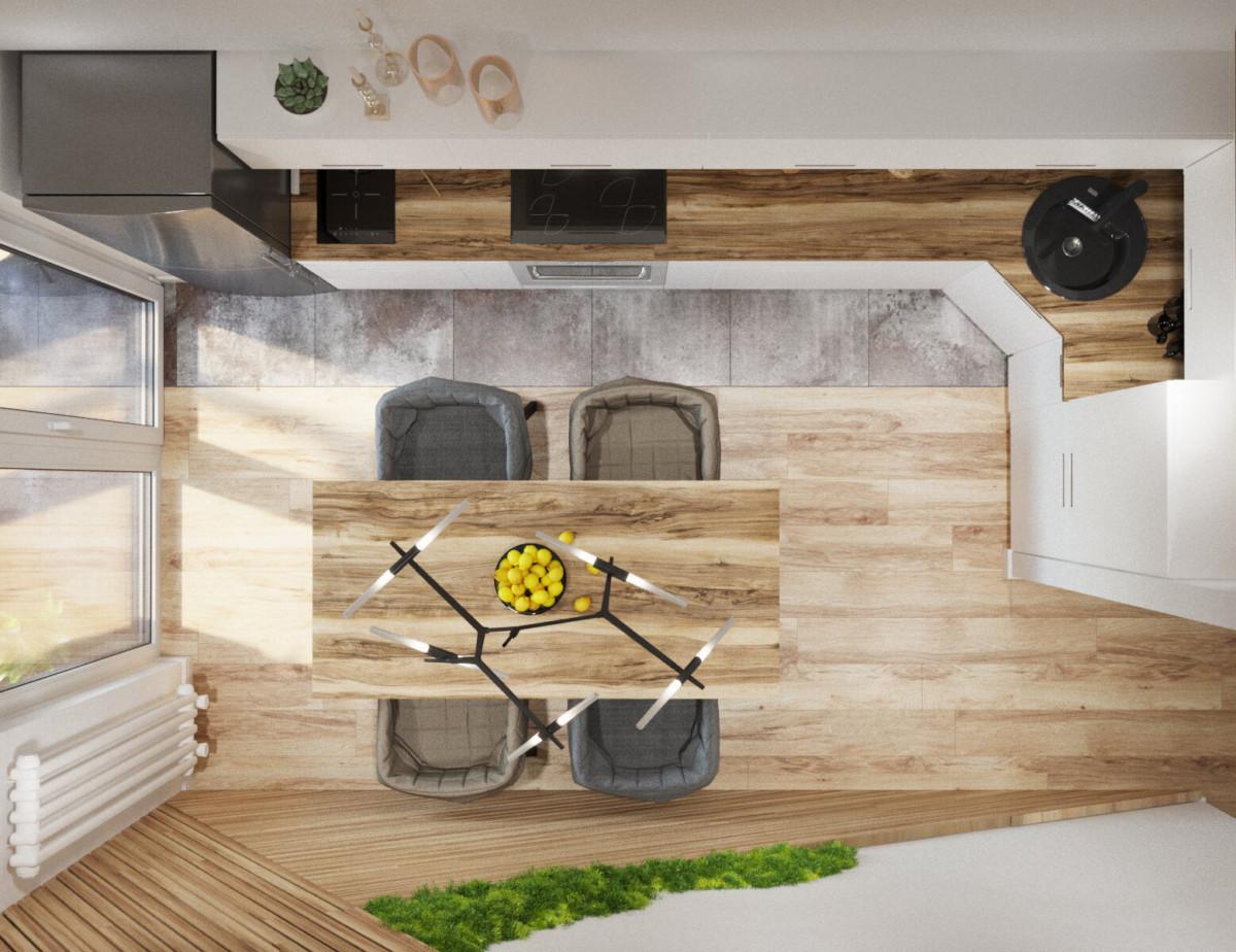 Кухня/столовая в  цветах:   Бежевый, Коричневый, Светло-серый, Темно-зеленый.  Кухня/столовая в  стиле:   Скандинавский.