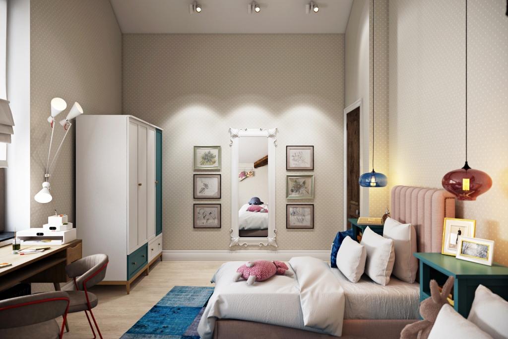 Детская комната наполнена множеством деталей интерьера и мебели, каждая из которых выполняет свою роль.