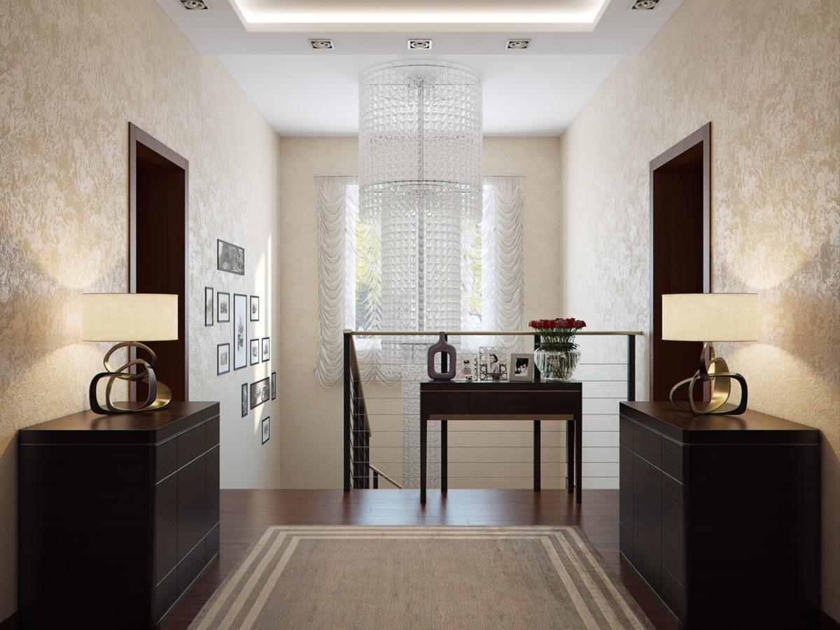 Холл второго этажа. Второй свет оформлен в виде трёхметровой люстры.
