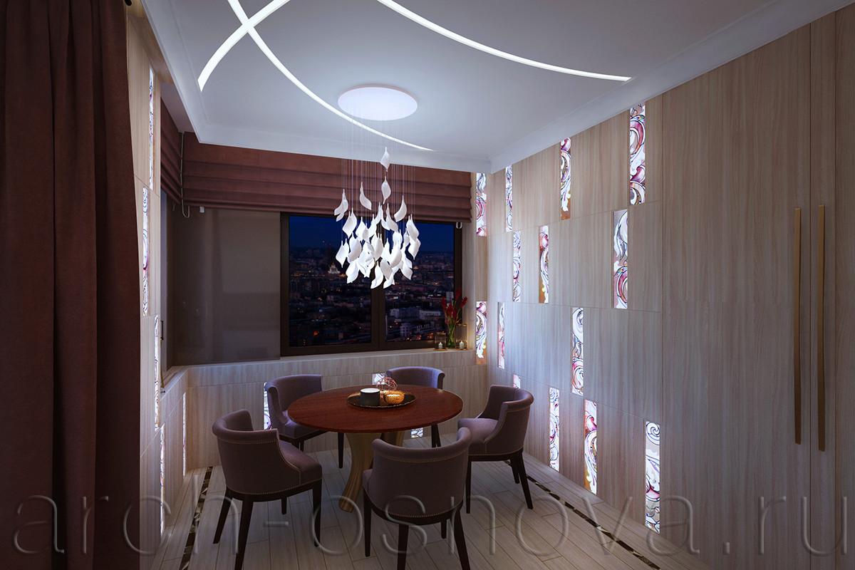 Отделка стен в столовой зоне выполнена с применением деревянных панелей со вставками модулей художественного витража. За витражными элементами расположена подсветка, позволяющая им выполнять роль встроенных светильников и создавать мягкое рассеянное освещение и приятную утонченную атмосферу.