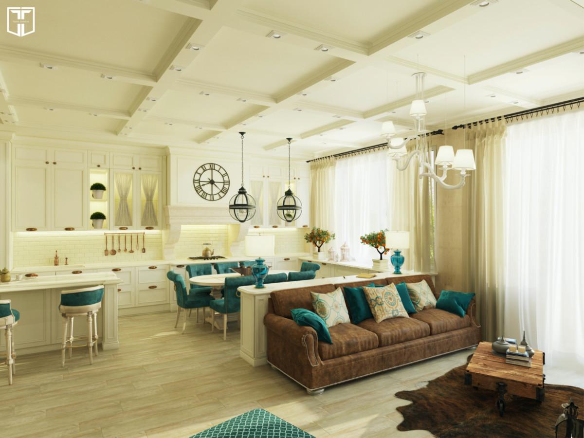 Интерьер в гостиной в светлых тонах, цветовые и фактурные акценты использованы в текстильном оформлении этого многофункционального помещения, которое одновременно служит гостиной и кухней-столовой.