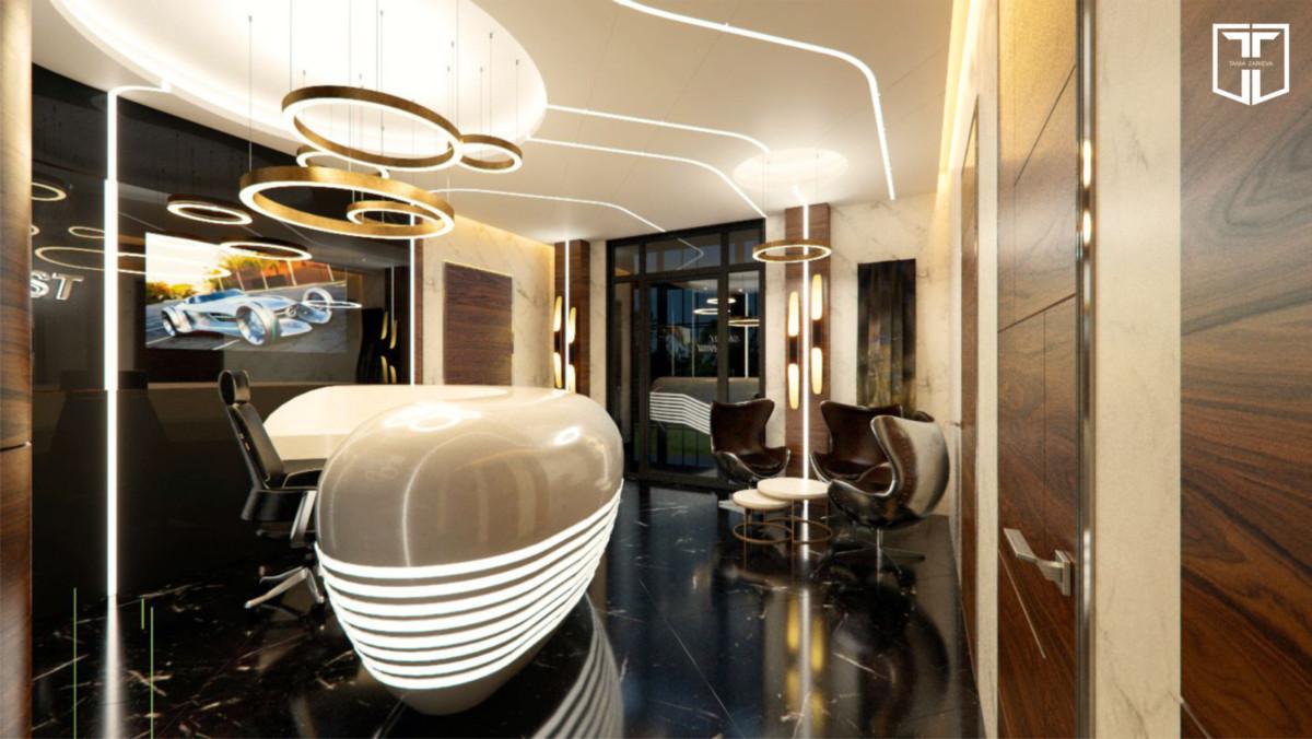 Над стойкой reception люстра Henge, на потолке светодиодные профили в корпусе, по индивидуальному заказу, по периметру помещения светодиодная подсветка.