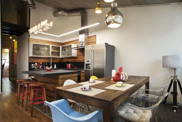Кухня/столовая в  цветах:   Бежевый, Коричневый, Серый, Темно-коричневый.  Кухня/столовая в  стиле:   Лофт.