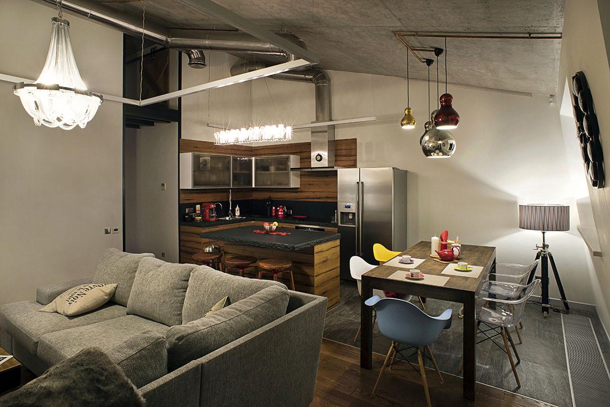 Гостиная в  цветах:   Бежевый, Бирюзовый, Зеленый, Темно-коричневый.  Гостиная в  стиле:   Лофт.