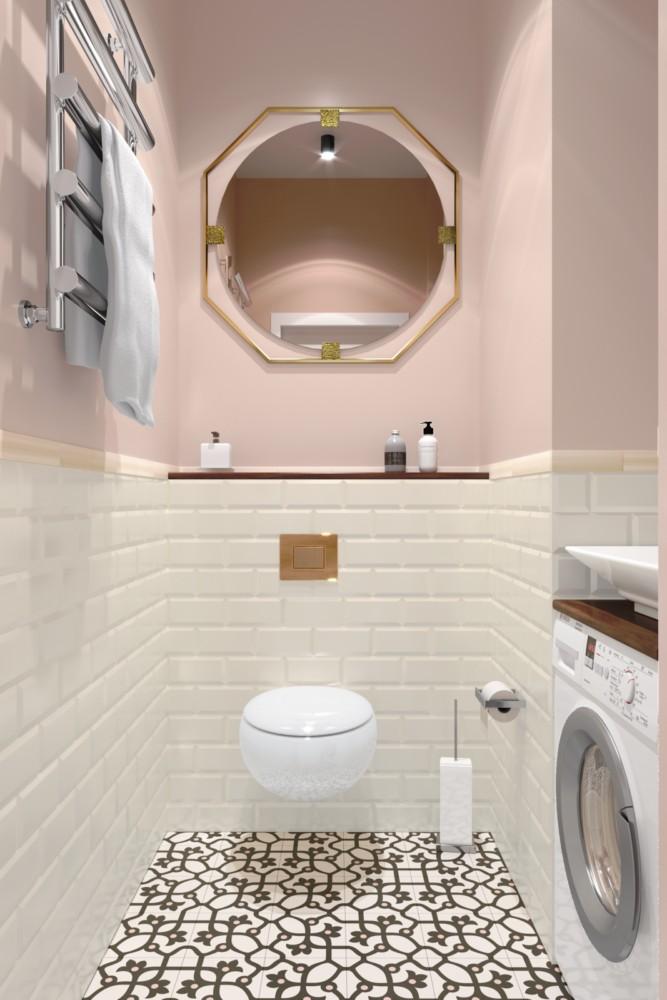 Интересное решение для санузла — стиральная машина под раковиной — стало возможным благодаря технологичной инсталляции труб водоснабжения и сифона, скрытого в стене.