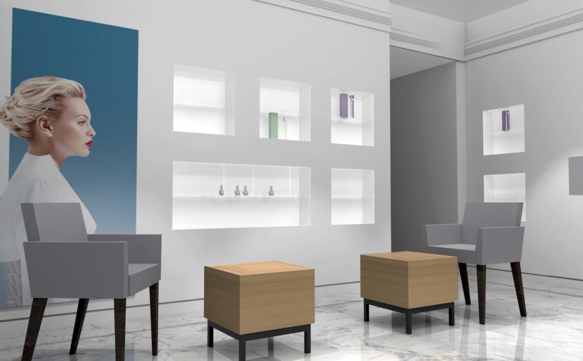Визуализация витрины в маникюрном зале. Вся видимая поверхность выполнялась из искусственного камня Staron пр-ва Samsung. Освещение внутри ниш предполагалось выполнить светодиодными лентами, что создавало более ровный свет.