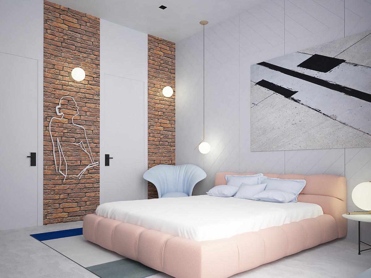 В спальне повторили приём частичной отделки стен кирпичной кладкой. И опять же смягчили эффект нежными формами мягкой мебели. Кровать B