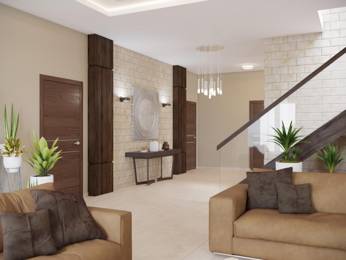 Для отделки стен, помимо обычной окраски, использовали натуральный травертин.