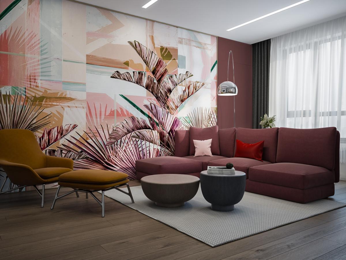 Интерьер трёхкомнатной квартиры с тропическими мотивами