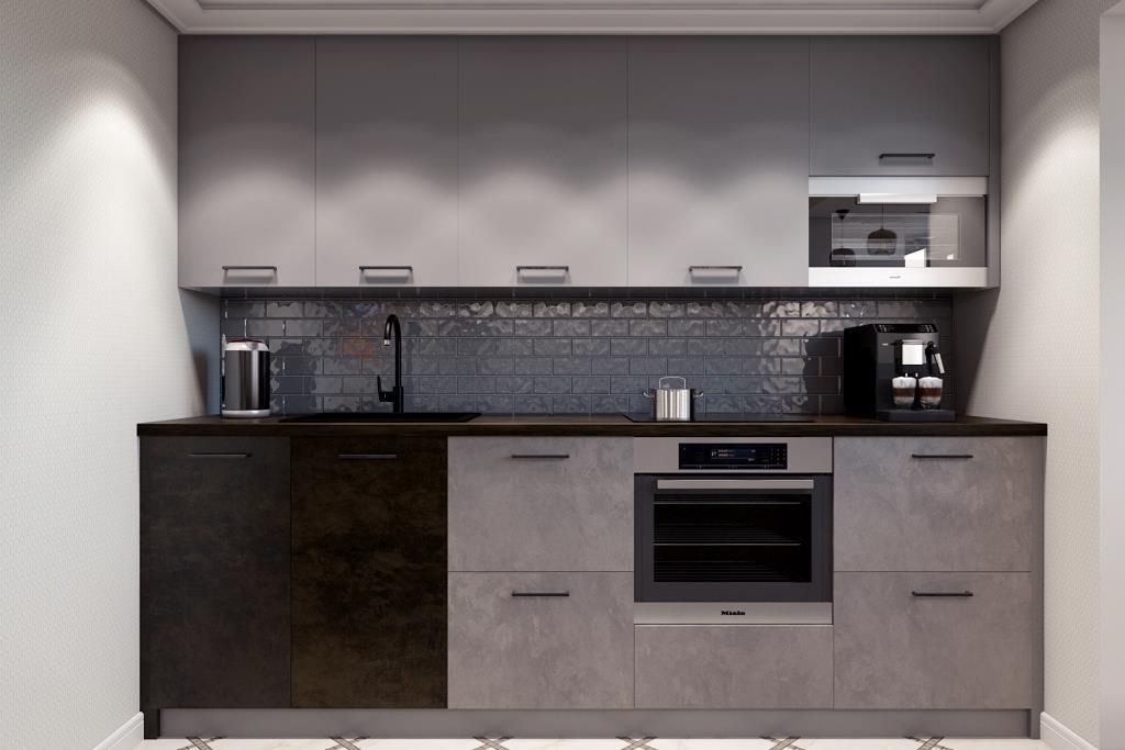 Три вида кухонных фасадов с текстурами глянцевой керамики и металла, органично слились в оригинальную композицию