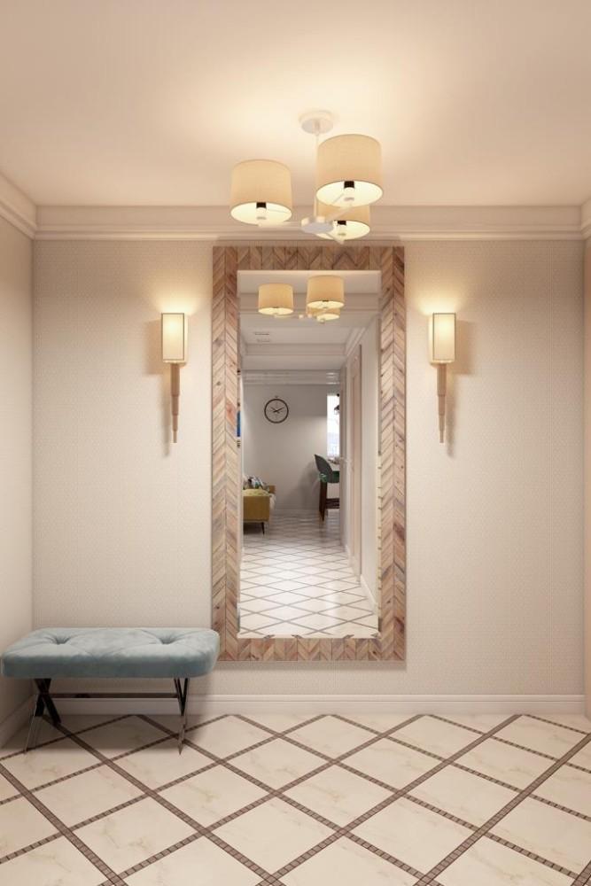 Таким расположением зеркала, нам удалось украсить стену в прихожей и позволило организовать широкий угол обзора, позволяющий видеть себя полностью, одевая верхнюю одежду около гардероба