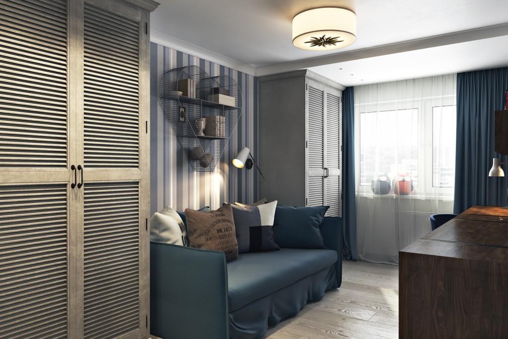Теплые оттенки серого и холодного, насыщенно синего, наполнили комнату легкой патиной и духом истории