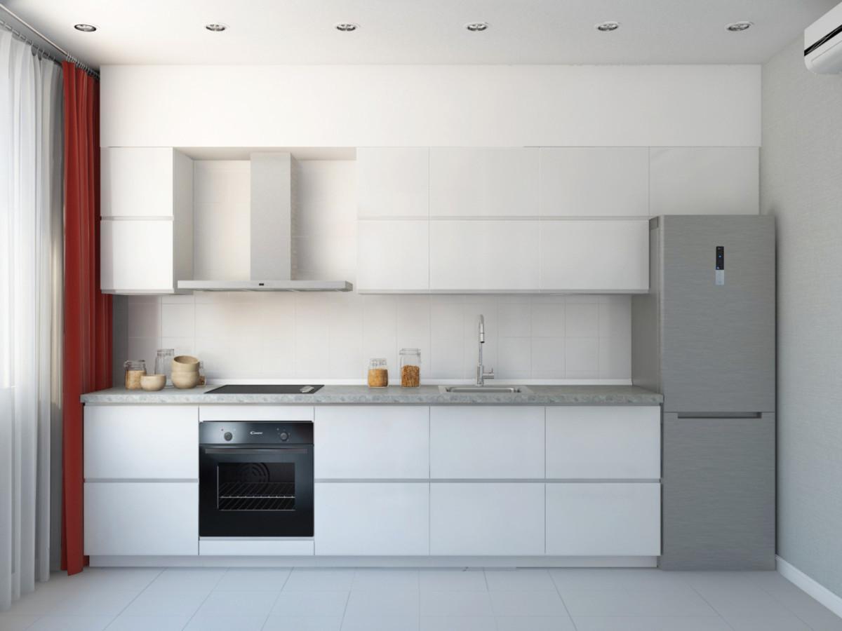 Кухня от ИКЕА в бело-серой гамме.