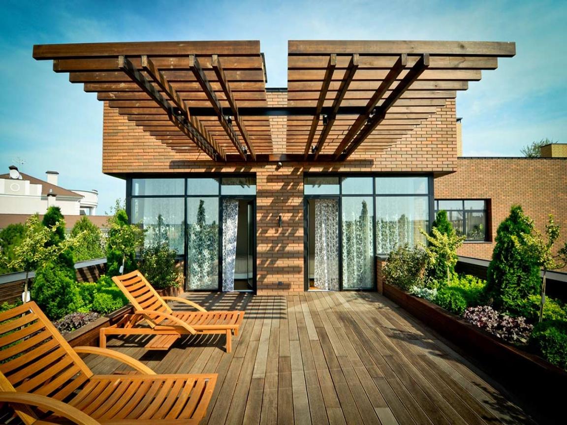 Архитектура, Балкон в  цвете:   Коричневый.  Архитектура, Балкон в  стилях:   Минимализм, Экостиль.