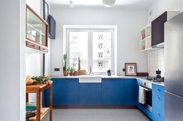 Кухня/столовая в  цветах:   Белый, Светло-серый, Синий.  Кухня/столовая в  .